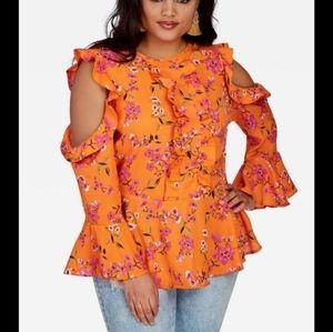 Shoulders Out Floral Blouse